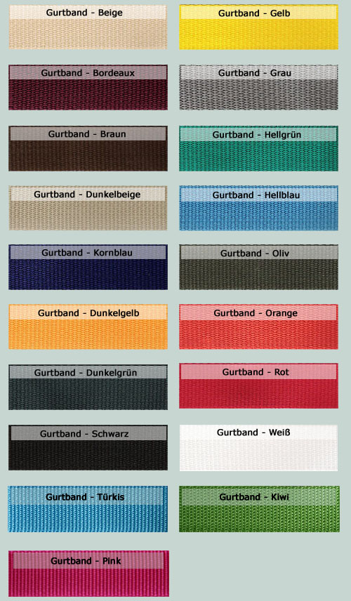 Gurtband Farben